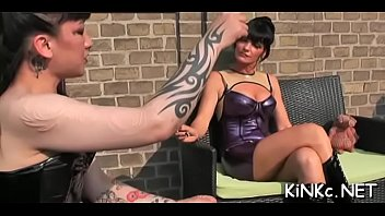 2 high heel mistresses lesbian slave torture getting from Spidergagged and facefucked